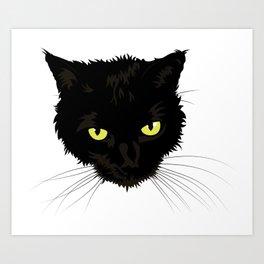 Black Cat Face Art Print