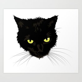 Black Cat Face Art Print
