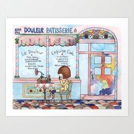 Douleur Cafe Art Print