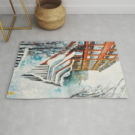Brooklyn New York In Snow Storm Rug