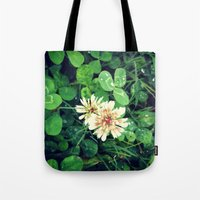 clover Tote Bags featuring Clover by Amber Dawn Hilton