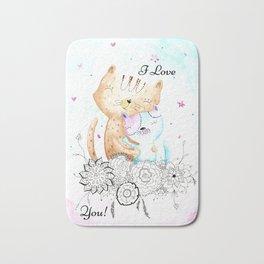 I Love You - Cats Art Illustration Bath Mat