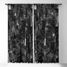Night city glow B&W / 3D render of night time city lit from streets below in black and white Blackout Curtain