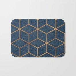 Dark Blue and Gold - Geometric Textured Cube Design Bath Mat