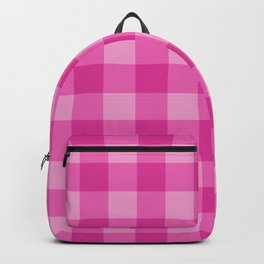 Pink Checkered Plaid Squares Backpack