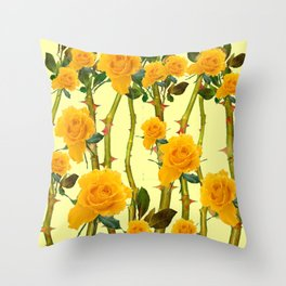 GOLDEN ROSES & THORNY CANES ON  YELLOW Throw Pillow