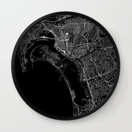 San Diego Black Map Wall Clock