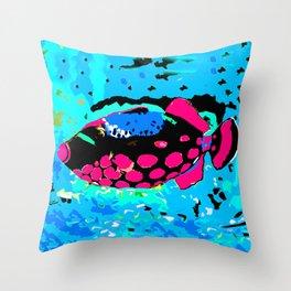 Clown Trigger Fish Throw Pillow