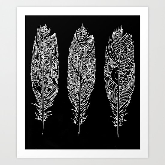 Patterned Plumes - White Art Print