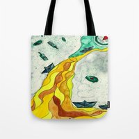 alcohol Tote Bags featuring Floating like Alcohol by Miss Banana