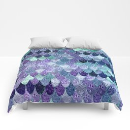 SUMMER MERMAID  Purple & Mint by Monika Strigel Comforters