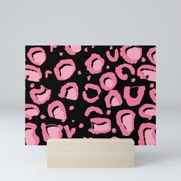 Leopard Skin Inspire Pattern Pink and Black Mini Art Print