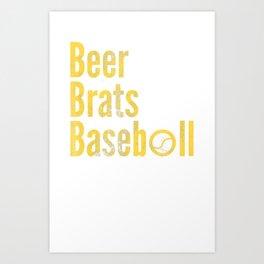 Beer Brats Baseball T-Shirt Art Print