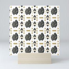 SCANDINAVIAN LEAVES PATTERN 2 Mini Art Print