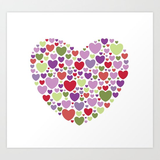 Colourful Hearts Art Print