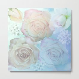 Romantic roses and tiny flowers in pastels Metal Print