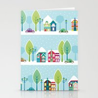 ski Stationery Cards featuring Ski house by Polkip