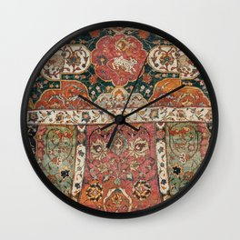 Persian Medallion Rug V // 16th Century Distressed Red Green Blue Flowery Colorful Ornate Pattern Wall Clock