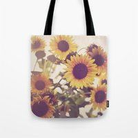 sunflowers Tote Bags featuring Sunflowers by elle moss