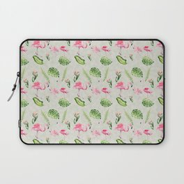 Watercolour Tropical Flowers Leaves and Flamingos Laptop Sleeve