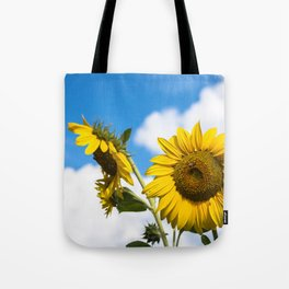 Sunflowers and clouds Tote Bag