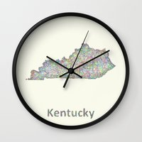 kentucky Wall Clocks featuring Kentucky map by David Zydd