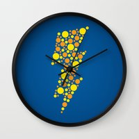 lightning Wall Clocks featuring Lightning by Danielle Podeszek
