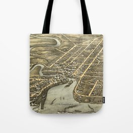 Vintage Pictorial Map of Plattsburgh NY (1877) Tote Bag