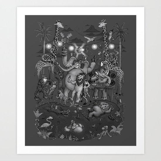 Party Animals - Monotone Version Art Print