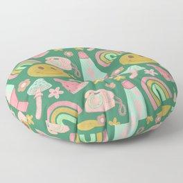 Retro Vibes in Green  Floor Pillow