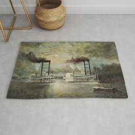 Steamboat Race On The Mississippi - Baltic Vs Diana - 1859 Rug