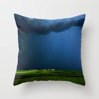 aelwen Throw Pillows featuring Wild, wild weather by Donuts