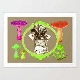 Lime Mushroom Princess Art Print