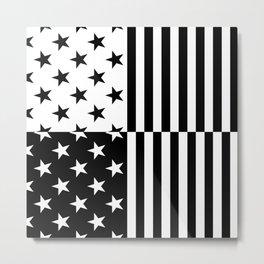 STARS AND STRIPES (BLACK-WHITE) Metal Print