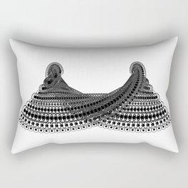Geometric Lace in Black on White Rectangular Pillow