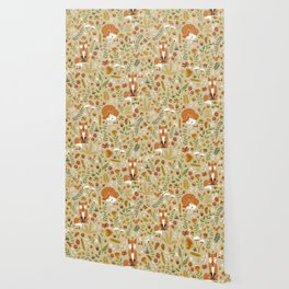 Foxes with Fall Foliage Wallpaper