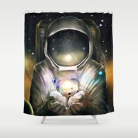 astronaut Shower Curtains featuring Astronaut by J ō v