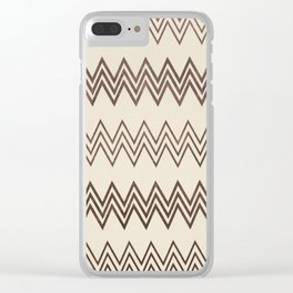 Vintage white brown faux leather geometrical chevron Clear iPhone Case