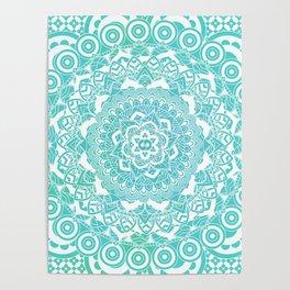 Sea Green Ombre, Indian Mandala Pattern Poster