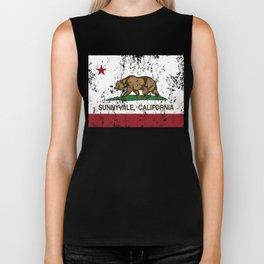 Sunnyvale California Republic Flag Distressed Biker Tank