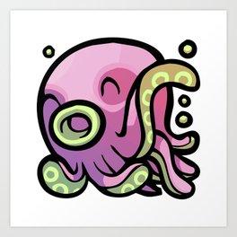Pink Gorilla X Enfu Octopus Art Print