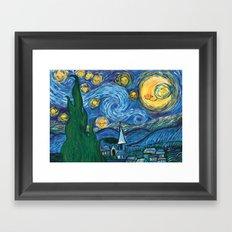 Star Sky - Reinterpretation of The Starry Night by Vincent Van Gogh - Kids art, Prints, painting Framed Art Print