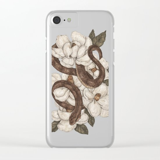 Snake and Magnolias Clear iPhone Case