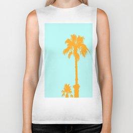 Orange palm trees silhouettes on blue Biker Tank