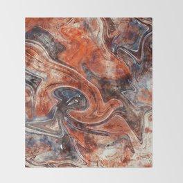 Orange marble watercolor Throw Blanket