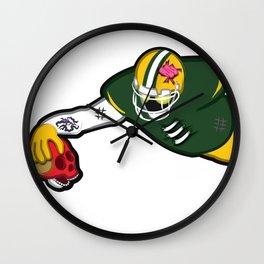 Zombie Football Player, GREEN BAY w/San Francisco Skull Wall Clock