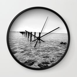 Black And White Ocean View Wall Clock