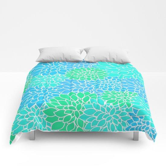 Blue & Green Pattern Comforters
