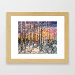 Winter Sunset Landscape Impressionistic Painting With Palette Knife Framed Art Print