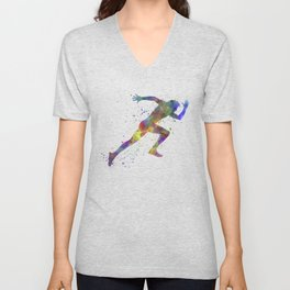 Man running sprinting jogging Unisex V-Neck